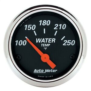 Autometer 1436 Designer Blk Water Temperature Gauge 2 1 16 Chrome Bezel