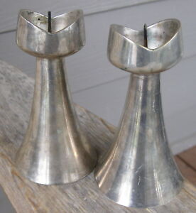 Vintage Heavy Metal Tulip Abstract Atomic Mid Century Modern Candle Holders Pair