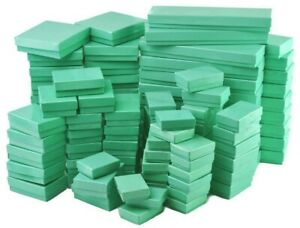 50 Assorted Mix Sizes Glossy Teal Cotton Fill Jewelry Packaging Gift Boxes