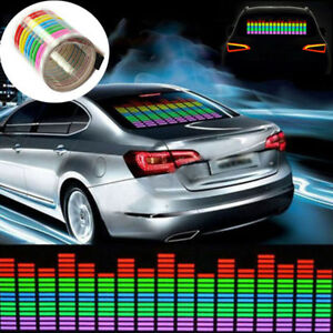 80x19cm Car Sticker Music Rhythm Led Flash Light Lamp Sound Activated Multicolor