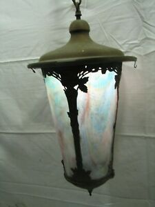 Vintage Brass Slag Rainbow Glass Chandelier Porch Lamp Light Hanging Ornate