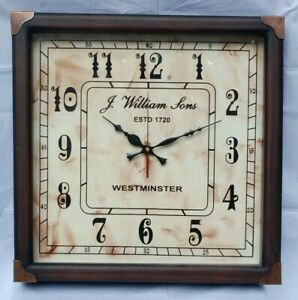 Antique Vintage Style Square Quartz Wall Clock J William Sons 1720 Free Shipping