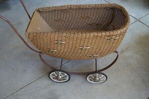 Antique Baby Doll Carriage Wicker Baby Buggy Stroller Carriage South Bend Toy Co