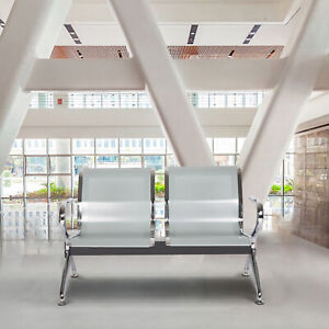 2 seat Airport Waiting Chair Clinic Bench Office Reception Room Salon Sliver