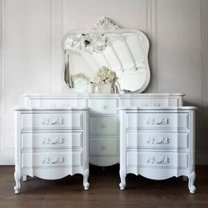 French Provincial Pure White Dresser Mirror Nightstands Bedroom Set Shabby Chic