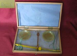 19c Antique Medical Apothecary 10g Bronze Scales Boxed W Celluloid Cups Bosch