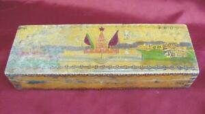 1960s Vintage Russia Bulgaria Student Pencils Wooden Engraved Box
