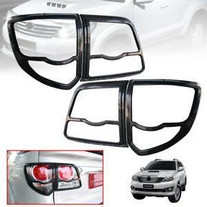Cover Tail Lamp Rear Light Carbon Kevlar Trim Fit Toyota Fortuner 2012 13 14