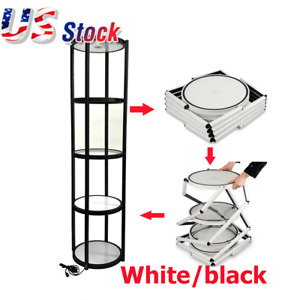 Usa 81 Round Portable Aluminum Spiral Tower Display Case With Shelves