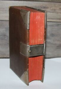Antique 1871 Old New Testament Holy Bible Brass Clasp Fancy Brass Corners