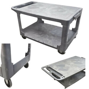 Service Cart With Flat Top And Bottom Shelf Holds And Transports Up To 500 Pound