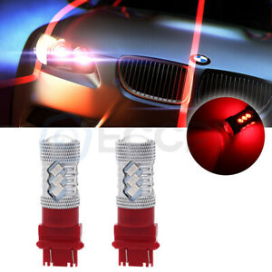 2x 3157 3056 Led Red Drl Daytime Bulbs 100w 6000lm Light Lamps Cree Chip Us
