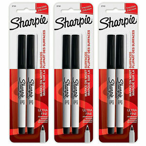 3 Pack New Sharpie Ultra Fine Point Permanent Markers 2 Black Markers