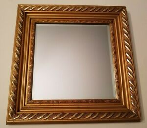 Antique Gold Gilded Wood Frame 15 X15 With Mirror Vintage