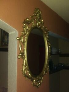 Vintage Italian Florentine Gold Tole Small Oval Octagonal Wall Mirror W Label