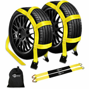 2 Pack Car Wheel Tire Axle Straps Tow Dolly Straps With Flat Hooks For Trailer