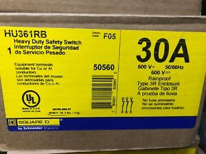 New In Box Square D Hu361rb Heavy Duty Safety Switch 30a 600v new