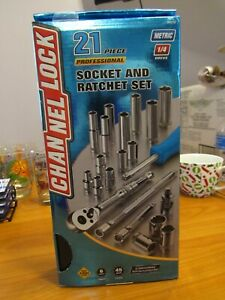 New Channellock 34212 1 4 Drive Metric Socket Ratchet Set 21 Pc Set