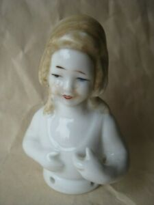Antique Pincushion Half Doll Porcelain 2 1 8 Germany Blond 1 Hole Broke Thru