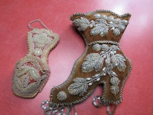 Two Primitive Antique 1880 S Victorian Beaded Wall Pockets Shoe And Other Look