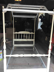 Vintage Ethan Allen Twin Wood Canopy Bed Frame 1970 S Vg With Shelving Unit