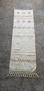 Show Towel 1853 W Name Stitched On Linen Very Good Condition Vibrant Thread