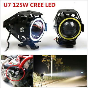 Led Headlight Motorcycles Lamp Fog Spotlight 125w Super Bright Angel Eyes Light