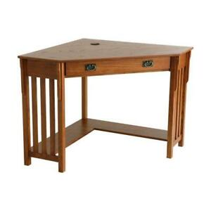 Home Office Desk Corner Shape Writing Table Mission Oak Tone With Keyboard Tray