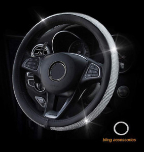 Crystal Steering Wheel Cover With Pu Leather Bling Bling Rhinestones Black