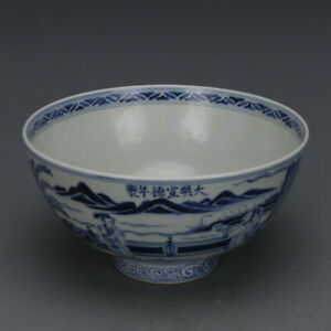 China Antique Porcelain Ming Xuande Blue White People Beauty Jixin Bowl Cup
