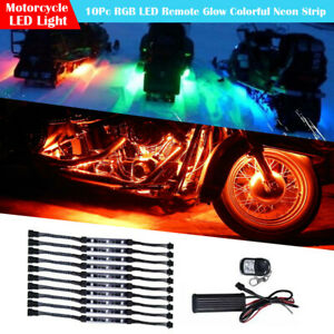 10pcs Rgb Color Remote Motorcycle Flexible Led Neon Under Glow Lights Strip Kit