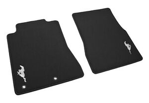 2005 2012 Ford Mustang Oem 2pc Front Floor Mats Charcoal W Silver Running Horse