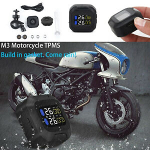 Motorcycle Tpms Tire Pressure Monitor System Lcd With External Sensors Sets New