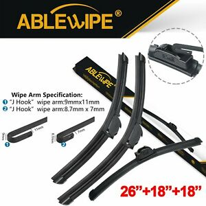 Ablewipe Fit For Honda Civic 2017 2016 Windshield Front Wiper Blades Set Of 3