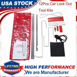 12 Pack Car Door Open Unlock Tool Kit Key Lost Lock Out Wedge Emergency Air Pump