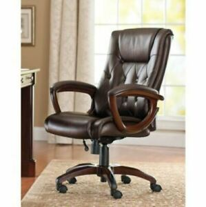 heavy Duty Leather Office Rolling Computer Chair Brown Executive Desk