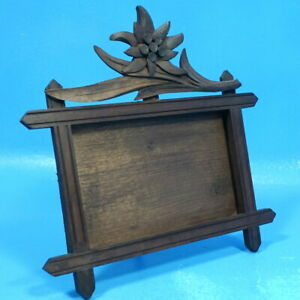 Antique Black Forest Wood Carving Table Desk Photo Frame Edelweiss Flower Brienz