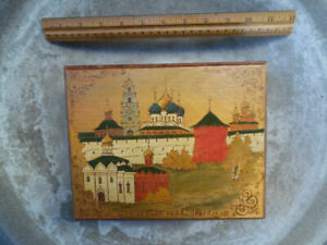 Antique Russian Hand Painted Engraved Burn Wood Hinged Box C1940 S Signed