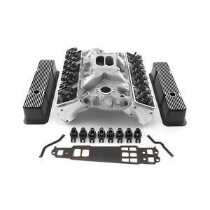 Fit Chevy Sbc 350 Straight Cylinder Head Top End Engine Combo Kit Superstr