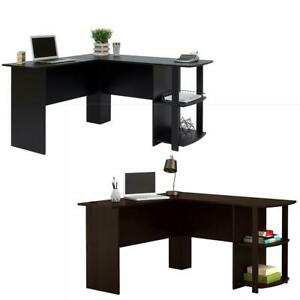 L shaped Corner Computer Desk Pc Laptop Table Workstation Home Office Furniture