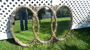 Large Ornate Tri Oval 65 43 Hollywood Regency Mirror In Nice Condition