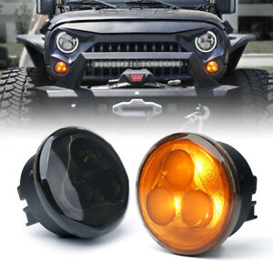 Xprite Amber Led Turn Signal Light Assembly W Smoke Lens For Jeep Wrangler Jk