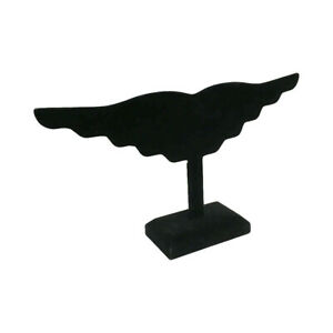 12 Earring Display Stand Holding 10 Pairs Jewelry Holder Black Velvet Wing 5 Pc
