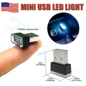 Mini Usb Icy Blue Led Car Interior Light Neon Atmosphere Ambient Lamp Bulds