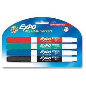 New Expo Dry Erase Fine Tip Markers Low Odor Ink Four Colors