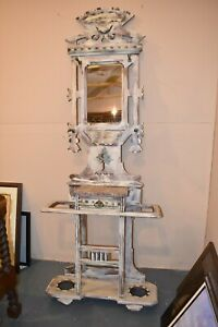 Antique Refinished Eastlake Style Hall Tree Umbrella Stand Shabby Chic Marble