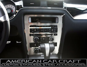 2010 2014 Ford Mustang Center Dash Console Radio A c Trim Plate Brushed Finish