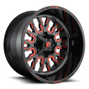 Set Of 4 Fuel Wheels D612 Stroke 24x14 8x165 1 75 Gloss Milled Red