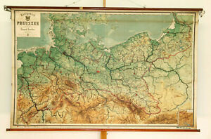 Schulwandkarte Wall Map Kingdom Prussia 80 11 16x52in 1910 Vintage Roll Up