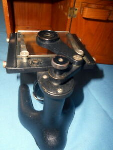 Vintage Bausch Lomb Microscope Dovetailed Wood Case Monocular Slide Viewer